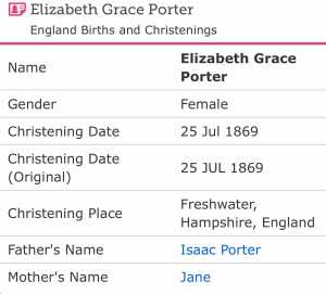 Christening Elizabeth Grace Porter
