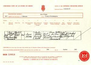 Elizabeth Grace Gibbs Porter Birth Certificate