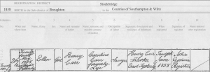 Ellen Carr 1852 Birth Certificate