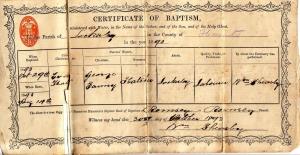 Eva Hatcher Baptism Certificate