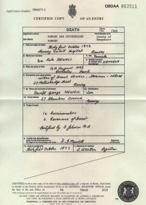 Eva Kate Newell nee Hatcher Death Certificate