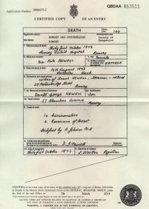 Eva Kate Newell nee Hatcher Death Certificate