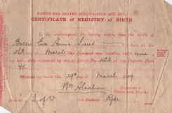 Eva sweet, Short Birth Certificate