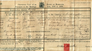 Frank and Eva Marriage Certificate
