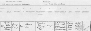 George Henry carr - 1853 Birth Certificate