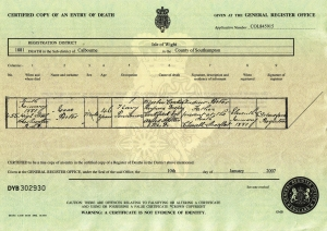 Isaac Porter Death Certificate