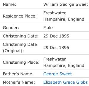 William George Sweet, Christening