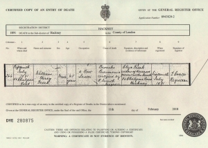 William Harry freak Death Certificate
