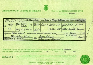 Alfred Wheeler and Emily Shinkfield Marriage Certificate