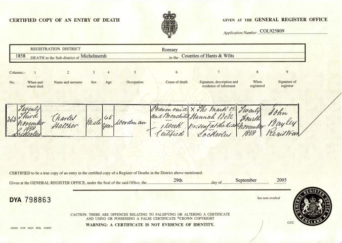 Charles hatcher Death Certificate