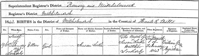 Ellen Luke Birth Certificate