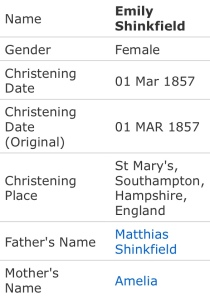 Emily Shinkfield Christening