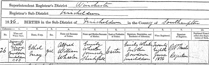 Ethel M Wheeler Birth Cert
