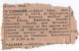 Ethel May O'Connor Newspaper - Death