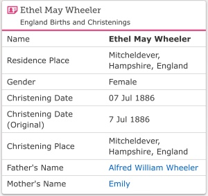 Ethel May Wheeler Christening