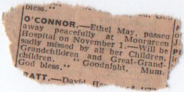 Ethel May Wheeler Newspaper Clipping - Death