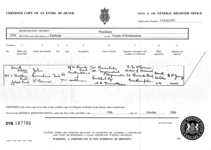 John C O'Connor Death Cert
