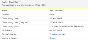 John Henry Hatcher Christening