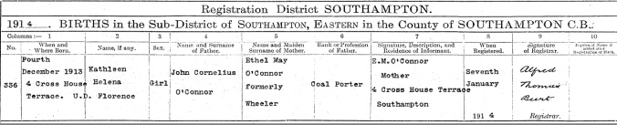 Kathleen Helena O'Connor Birth Certificate