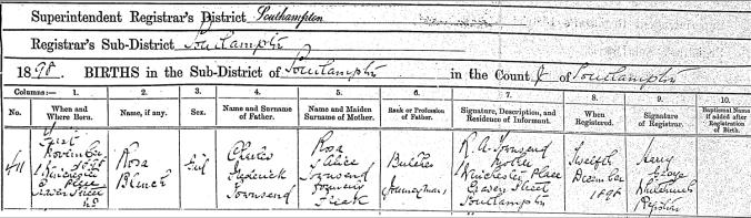 Rosa B Townsend Birth Certificate