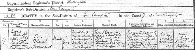 Rosa B Townsend Death Certificate