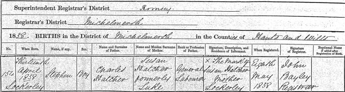 Stephen Hatcher Birth Certificate