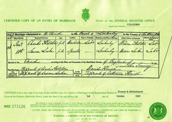 Susan Luke and Charles Hatcher Marriage Certificate