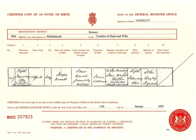 Alfred newell Birth Cert