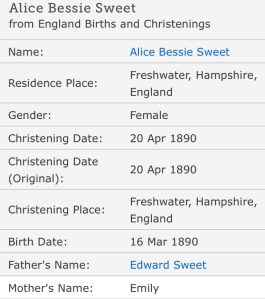 Bessie Alice Sweet, Christening