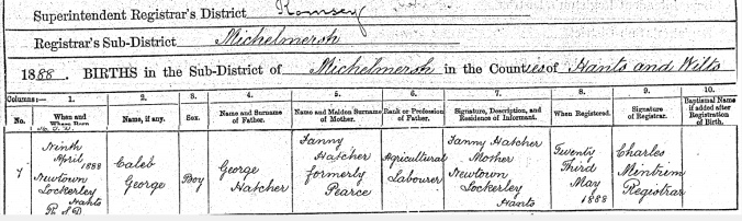 Caleb George Hatcher, Birth Certificate