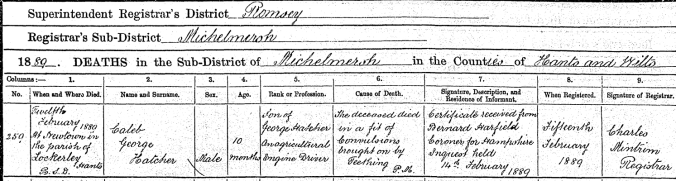 Caleb George Hatcher Death Certificate