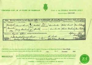 edward Sweet and Emily Forhead Marriage Certificate
