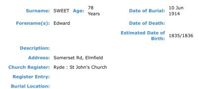 Edward Sweet, Burial