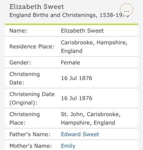 Elizabeth Sweet, Christening