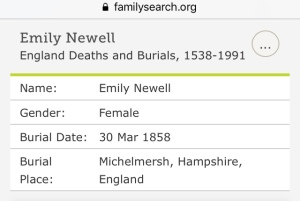Emily Newell, Burial