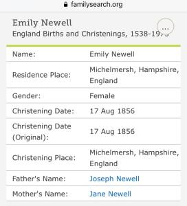 Emily Newell Christening