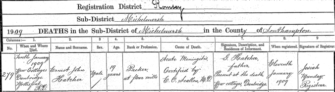 ernest j Hatcher death