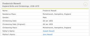 Frederick Newell, Christening