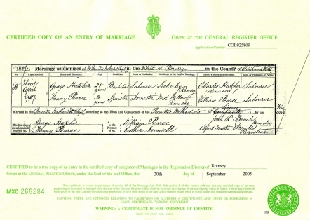George Hatcher and Fanny Pearce Marriage Certificate
