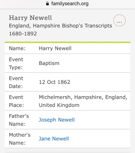 Harry Newell, Baptism