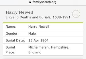 Harry Newell Burial