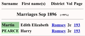 Harry Pearce And Edith Elizabeth Martin, Marriage Index
