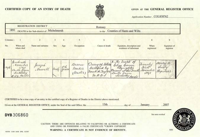 Joseph Newell 1891 Death Cerificate