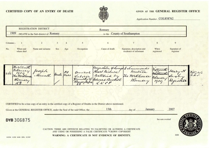 Joseph Newell Death Certificate