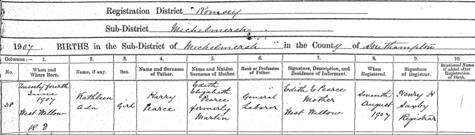 Kathleen Ada Pearce Birth Cert