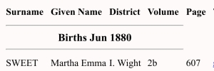 Martha Emma Sweet, Birth Index
