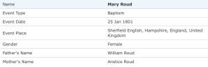 Mary Roude, Baptism