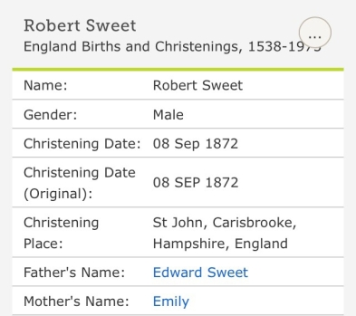 Robert Charles Sweet, Christening