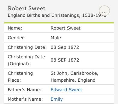 Robert Charles Sweet, Christening