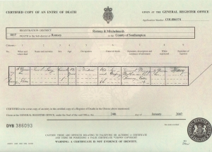 Sarah Long Nee Light, Death Certificate